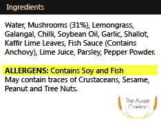 Ingredients Panel Allergens