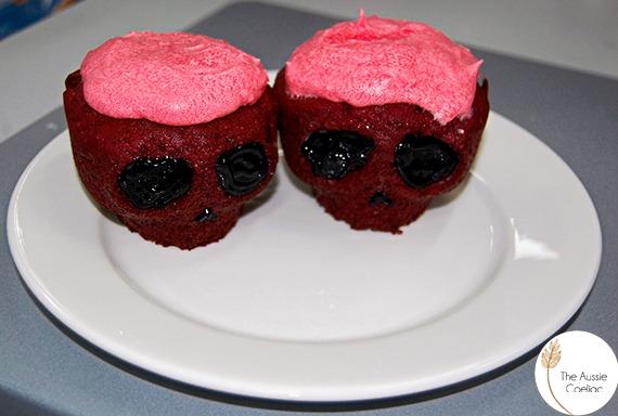 red velvet gluten free halloween skull cupcakes