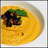 Pumpkin and Cashew Soup - Topped with Bacon