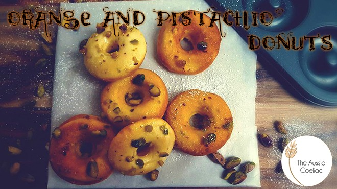 Gluten Free Baked Orange and Pistachio Donuts